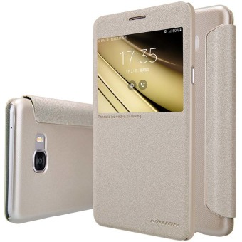 Harga Nillkin Leather Case Sparkle Series Super Thin Flip Cover For Samsung Galaxy C7 / C7000 (Color:Gold) - intl