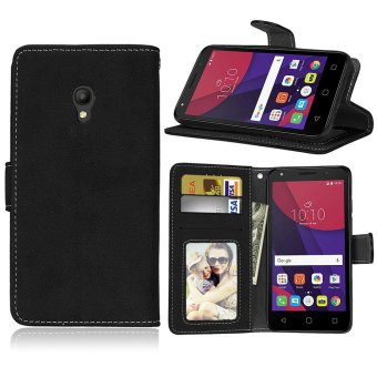 Harga Fashion Protective Stand Wallet Purse Credit Card ID Holders Magnetic Flip Folio TPU Soft Bumper Leather Case Cover for Alcatel One Touch Pixi 4 (5.0 inch) - intl