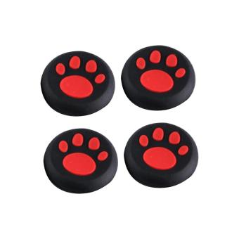 Harga 4Pcs Replacement Cat Paw Silicone Controller Joystick Grip Cap Cover For PS3 PS4 XBOX (Red) - intl