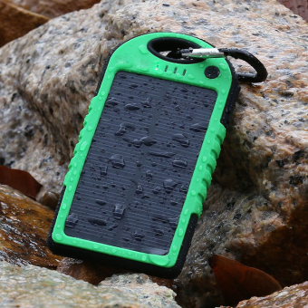 Harga Waterproof Solar 20000mAh Power Bank Dual USB Portable Mobile Battery Charger External Powerbank