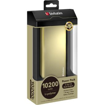 Harga Verbatim Slim Portable USB Power Pack Bank PowerBank 10400 mAH 2.1A(Gold 10001-15000mAh)