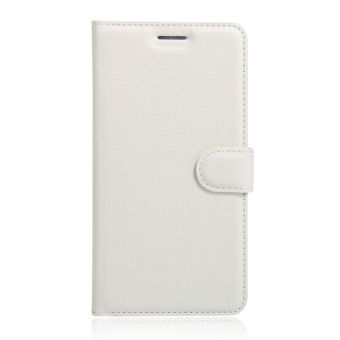 Harga Lychee Skin Leather Wallet Cover for Wiko Fever Special Edition (White) - intl