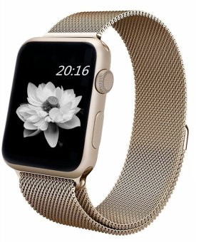 top4cus Milanese Magnetic Loop Stainless Steel Strap Watch Bands For Apple iWatch Series 1 and 2 -- 42MM(Gold)