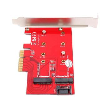 BUYINCOINS 2 Port NGFF M.2 B + M Key to PCI-E 4X Adapter Card