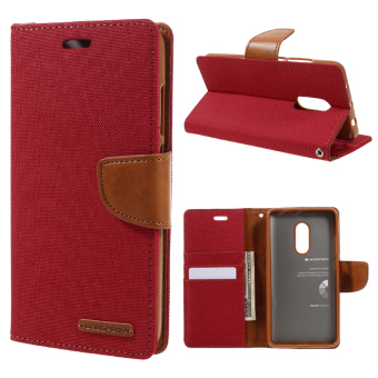Harga MERCURY GOOSPERY Canvas Leather Card Holder Case for Xiaomi Redmi Note 4 - Red - intl