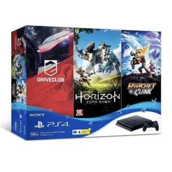 Harga PS4 Slim 500GB Console with 3 Games (Horizon Zero Dawn / DriveClub / Ratchet & Clank) + 90 Days PSN Plus