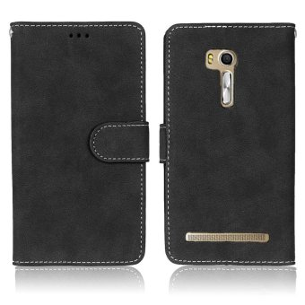 Harga Retro Matte Wallet Leather Magnetic Case Phone Cases for Asus ZenFone Go/Go TV ZB551KL - Black - intl