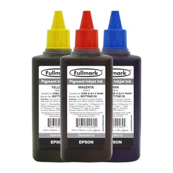 Harga Fullmark Premium Inkjet Pigment Ink Value Set, 100ml (1 x Cyan, 1 x Magenta and 1 x Yellow) - compatible with Epson