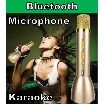 K088 (Rose Gold) Bluetooth Microphone Mini Karaoke KTV Player Wireless Microphone with Mic Speaker KTV Singing Record for Smart Phones Accessories