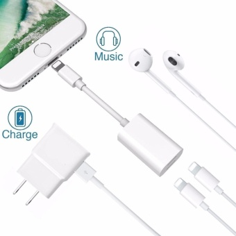 LYBALL iPhone 8 X 7 Plus Lightning Splitter Adapter Call+ Charge+ Music Dual Lightning Adapter Headphone Jack Audio and Charge Cable Adapter for iPhone 8 7 / 7 Plus (Suport iOS 10.3 iOS 11) Plug & Play - intl