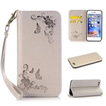 Multifunction Wallet Leather Case For iphone 6s Plus Butterfly Rose Embossed Flip Cover Card Slot Handbag
