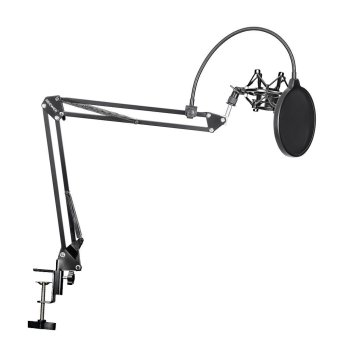 Neewer(R) NB-35 Microphone Suspension Boom Scissor Arm Stand with Mic Clip Holder and Table Mounting Clamp & NW(B-3) Pop Filter Windscreen Mask Shield & Metal Microphone Shock Mount Kit