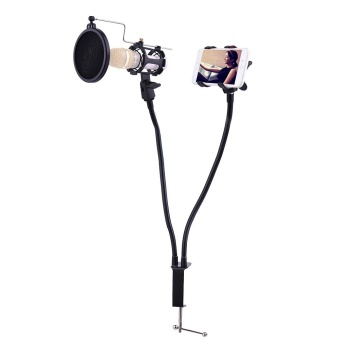 Professional Phone Microphone Mount Stand Bracket Supporter Holder Kit 360 Degree Angle Adjustment for MV Studio Recording Singing Broadcasting Chatting Black - intl