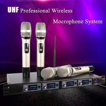 Professional UHF 4 Channel 4 Handheld Wireless LCD Display Microphone System Mic - intl