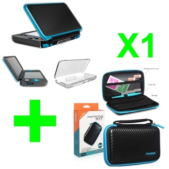 Transparent Crystal Case Anti-Scratch Hard Clear Protective Shell Skin Case Cover + Hard EVA Bag with Touch Pen and Screen Film for Nintend New 2DS XL LL Game Console - intl