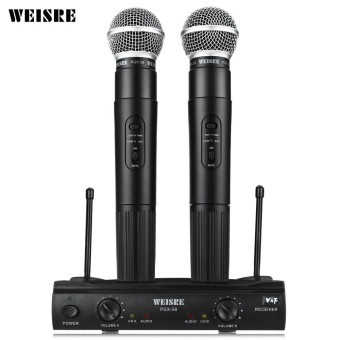 WEISRE PGX58 VHF Dual Wireless Microphone Mic System for Karaoke Party KTV etc. - intl