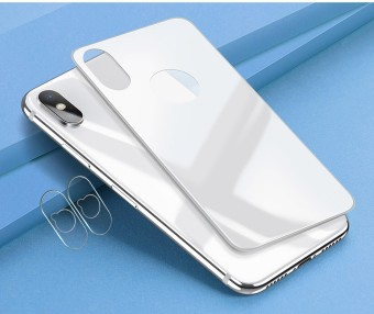 (White) Xumu For iPhone X 1pcs 3D Back Film + 2pcs Camera Lens Film Tempered Glass Protective Set Anti-scratch Slim Protector - intl