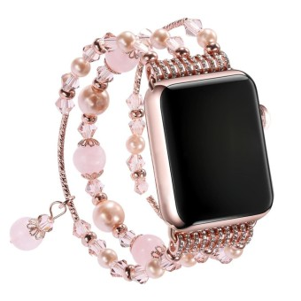 Women Elegant elastic Beaded Replacement Bracelet Wrist Belt Band Strap For Apple Watch iWatch 38mm Pink