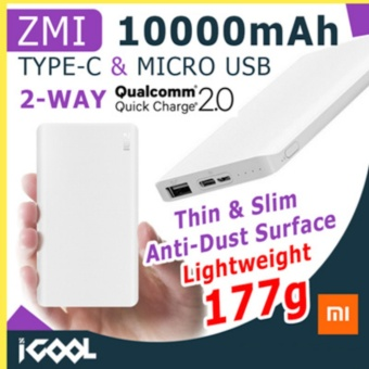 Harga Xiaomi ZMI 10000mAh Quick Charge 2.0 Power Bank with Micro Type-CInput