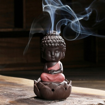 1 PC Buddha statue incense cones ceramic incense burner stove disc Incense burner sandalwood incense coil Buddha ornaments - intl