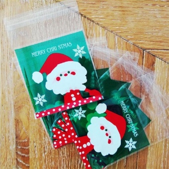 100PCS Christmas Cello Cellophane Cookie Biscuit Candy Sweet Bag Party Favour Gift - intl