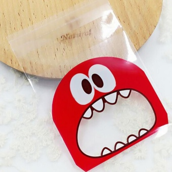 100pcs OPP Adorable Lovely Small Monster Sharp Teeth Pattern Baking Christmas Gift Packaging Bags Wedding Cookie Candy Plastic Bag Style:10 * 10 + 3 Red
