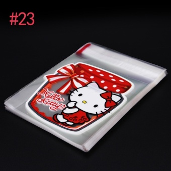 100pcs/Lot Cookie Packaging Pink Rabbit Lovely Bear Self-Adhesive Plastic Bags For Biscuits