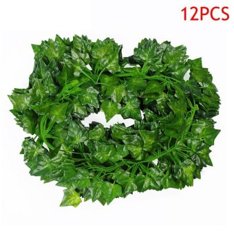 12 Pcs 2M Artificial Hanging Vine Plant Leaves Plastic Home Garden Wall Wedding Decoration - intl