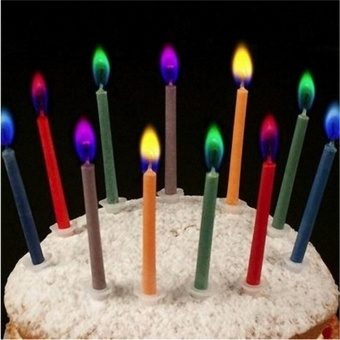 12 Pcs Fashion Colored Candles Safe Flames Party Birthday Cake Decorations - intl