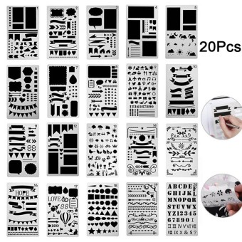 20 Pcs Bullet Journal Stencil Set Plastic Planner DIY Drawing Template - intl