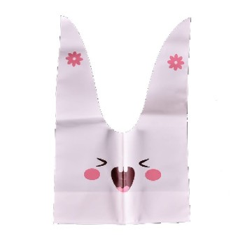 20pcs lot rabbit ear cookie bags plastic candy Biscuit Packaging Bag Wedding Candy Gift Bags party Supplies Pink smiley rabbit