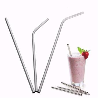 6 mm x 20.5 cm Bent 304 Stainless Steel Straw