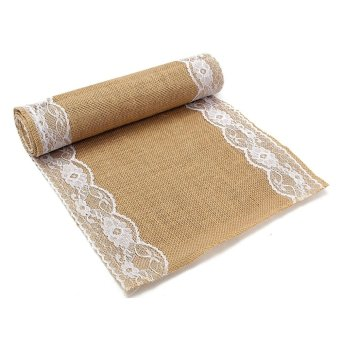 280x30cm Natural Vintage Burlap Lace Jute Hessian Table Runner Wedding Decor - intl