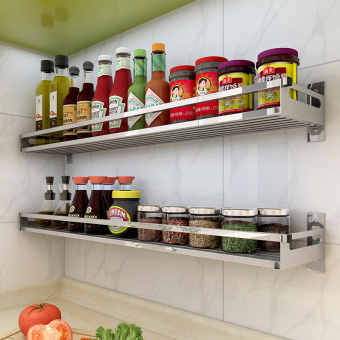 304 stainless steel kitchen wall shelf wall seasoning rack partition storage rack free punch shelf