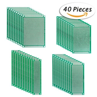 40pcs Double-side Prototype PCB Board Universal Printed Circuit Board Kit for Electronic DIY Project 2*8cm/3*7cm/4*6cm/5*7cm 4 Sizes - intl