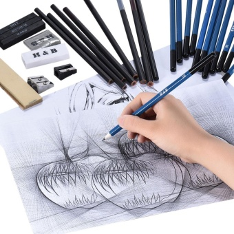 40pcs/ Set Professional Sketching Drawing Pencils Kit Including Sketch Graphite Charcoal Pencils Willow Sticks Erasers