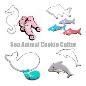 4pcs/set Metal Stainless Steel Sea Animals of Dolphin Hippocampus Whale Shark Cookie Cutters Fondant Biscuits Cutters Tools - intl