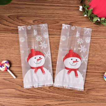 50PCS Christmas Cookie Bag Set Cute Snack Candy Container Gift Package Baking Accessories Decoration Style:Y220 Christmas snowman