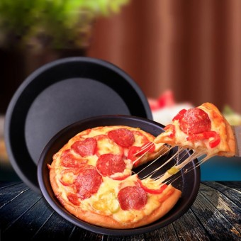 6/9 inch Round Pizza Pan Tray Carbon Steel Non-Stick Oven Pizza Plate Pan - intl