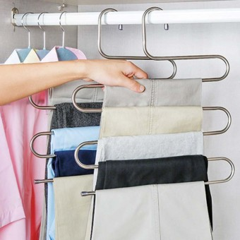 Amart 2 Pcs Pants Hangers S-type Stainless Steel Rack 5 Layers Closet Hanger Storage Rack for Clothes Towel Scarf Tie - intl