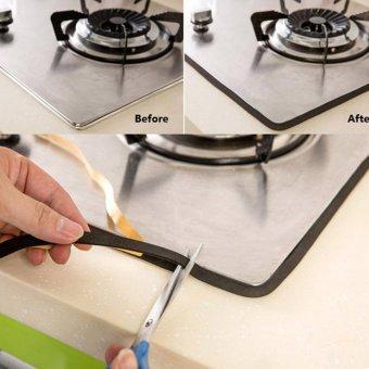 Black Windows Door Kitchen Antifouling Collision Gas Stove Waterproof Sealing Strip Tape - intl