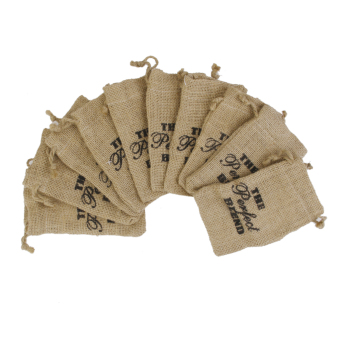 Harga BolehDeals 10Pcs Linen Jute Sack Jewelry Pouch Drawstring Gift Bags Wedding Favor(Export)