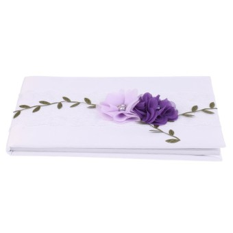 BolehDeals Wedding Guest Book White Lace Purple Flowers Signing Book Party Decoration - intl