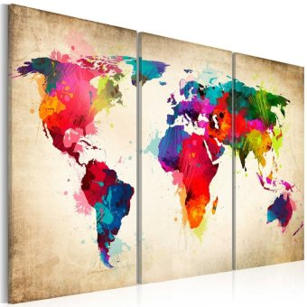 Canvas Triple World Map Hanging On The Wall Fashion Environmental(Red) - intl