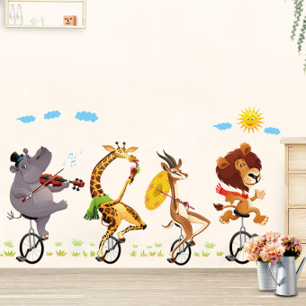Harga Cartoon children's room decoration sticker animal bicycle wall stickers