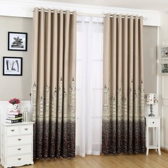 Castle Window Curtain Kid Baby Bedroom Gradient Design Blackout Curtains Drapes - intl