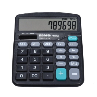 Electronic Calculator Counter Solar & Battery Power 12 Digits Multi-functional Big Button Business Office School Scientific Calculate Black - intl