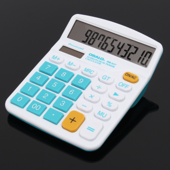 Electronic Calculator with Big Buttons Larg Display Computer Dual Solar Power Desktop Calculating Machine Handheld Gift Peppermint Blue - intl
