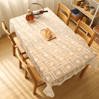 Harga European lace hollow embroidered white table cloth