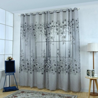 Floral Morning Glory Brilliant Flower Tulle Curtain Beautiful House Decor Door Blackout Window Curtain Grey - intl